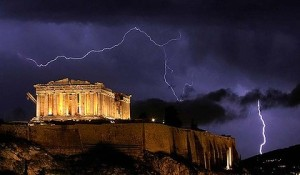 Lightning over parthenon